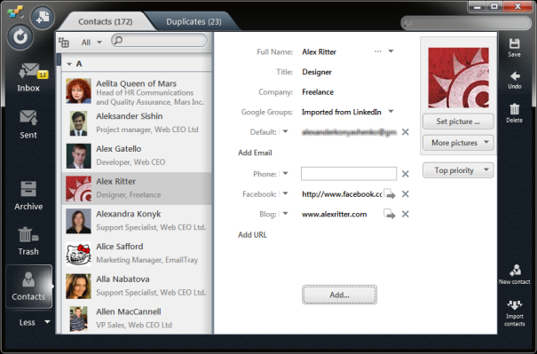 Manage Your Email Contacts with The EmailTray Address Book