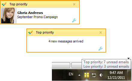 EmailTray notifications on desktop and taskbar