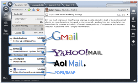 EmailTray client window with notifications from Gmail, Yahoo, AOL and POP3