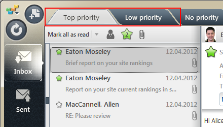 Sorting messages by priority in EmailTray