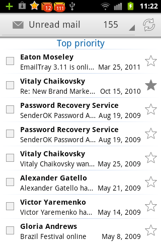 EmailTray unread messages