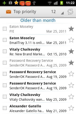 EmailTray messages older than month