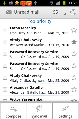 EmailTray unread top priority messages